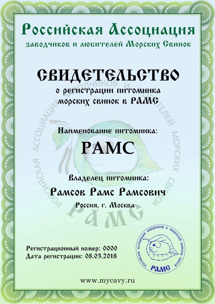 Свиетельство о регистрации в РАМС, образец.